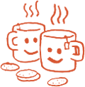 Happy coffee mugs and cookies